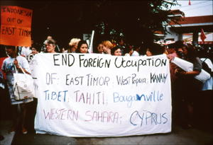 Women protesting at NGO Forum, Huairou, holding banner
