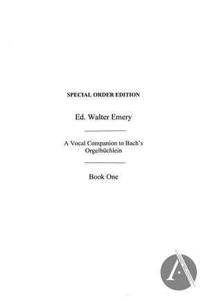 A Vocal Companion to Bach's Orgelbüchlein, Book 1