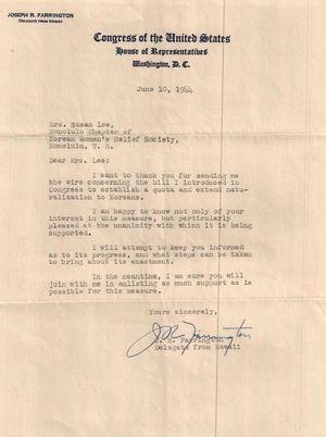 J.R. Farrington (U.S. Representative from Hawaii) to Susan Chun Lee (Korean Women's Relief Society), Washington, D.C., 10 June 1944
