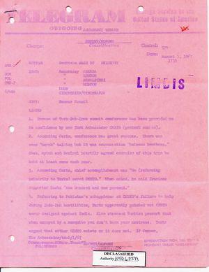 Telegram from Armin H. Meyer to Secretary of State Rusk re: Ramsar Summit, August 1, 1967