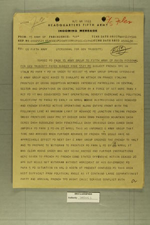 Incoming Message from 15 Army GP to CG Fifth Army [Personal for Gen. Truscott], May 4, 1945