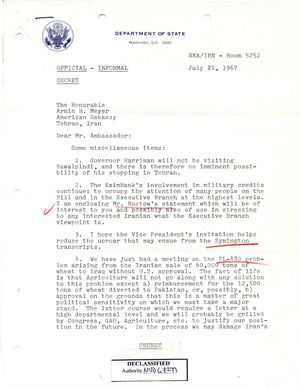 Secret Letter From Theodore L Eliot Jr To Armin H Meyer Re