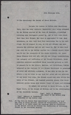Letter from Meidan Army Leaders to Consul of Great Britain re: French Military Tactics, February 20, 1926