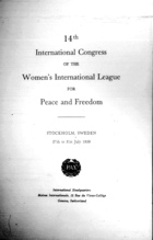 14th International Congress of the Women's International League for Peace and Freedom, Stockholm, Sweden, 27th to 31st July 1959