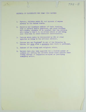 Criteria of Eligibility for Cuban Visa Waivers, c. 1963