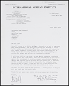 Letter from CDF to MG, 12 Apr. 1973