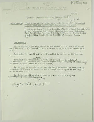 Draft of Agenda Item 3: Libyan Civil Aircraft Shot Down on 21 February 1973 by Israeli Fighters, February 27, 1973