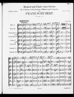 Menuet und Finale eines Octetts, D. 72, F Major