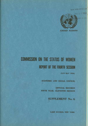 Report of the Fourth Session of the Commission on the Status of Women (Rapport de la [4th] session de la Commission de la condition de la femme)