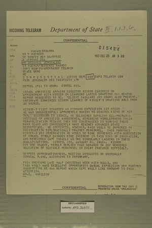 Telegram from AmConsul Jerusalem to Ruehor/SecState WashDC, December 23, 1963