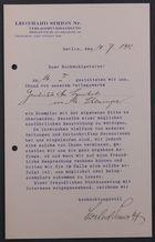 Letter from Leonhard Simion Verlagsbuchhandlung to Markus Brann, July 10, 1912
