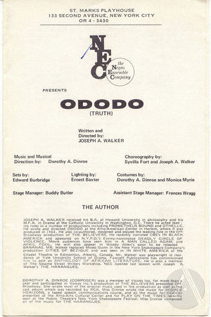 Playbill for <i>Ododo</i> by Joseph A. Walker, produced by the Negro Ensemble Company at the St. Mark's Playhouse, New York, 1970. Directed by Joseph A. Walker