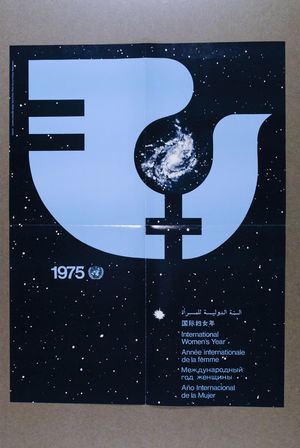 1975 poster: Astronomy, U.N. Symbol and Dove