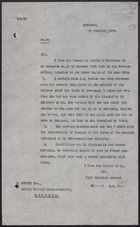 Letter from W. A. Smart to Norman Mayers re: Travel Warnings for Damascus, Februry 19, 1926