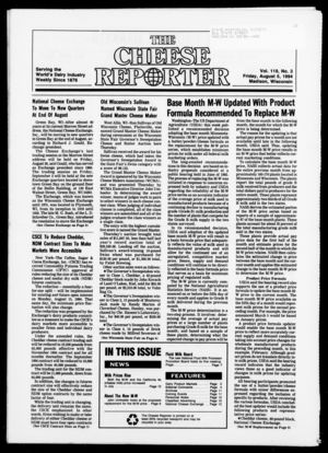 Cheese Reporter, Vol. 119, no. 3, August 5,  1994