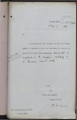 Transmittal Cover from F. H. Villiers to Under Secretary of State, Colonial Office, re: Attached Report from Consul Mallet to Marquis of Salisbury on Panama Canal, May 6, 1898