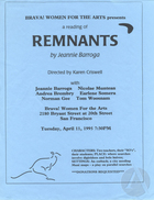 Flyer for Remnants by Jeannie Barroga, produced by Brava! Women For the Arts on April 11, 1995 in San Francisco, CA.