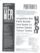 Copy of flyer for Portraits, a concert reading of Asian American female monologues, featuring work by Jeannie Barroga. Produced by the East West Players on August 3rd & 4th, 1996 at the Mark Taper Forum in Los Angeles, CA as part of Hymn To Her: A Celebration of Asian American Female Voices.