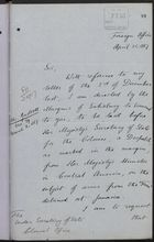Letter from T. V. Lister to Under Secretary of State, Colonial Office, re: Message on Behalf of Marquis of Salisbury on Arms from