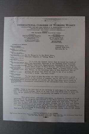 Bulletin No. 8, To the Delgates to the First International Congress of Working Women, 25 January 1921