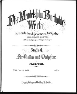 Konzert für die Violine mit Begleitung des Orchesters, Op. 64, E Minor