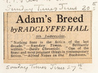 Adam's Breed by Radclyffe Hall, 5th Impression (Sunday Times, June 20/27)