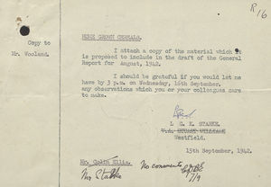 Memo, Report, and Form from L.G.K. Starke to Mr. Wooland re: Home Grown Cereals, September 15, 1942