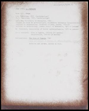 Brief curriculum vitae of Jean Sybil La Fontaine