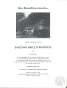 Flyer for Something Simple, Plain-Spoken by Caridad Svich at New Dramatists Theater on March 13, 2002.