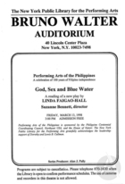 Handbill for God, Sex, and Blue Water by Linda Faigao-Hall, staged at the Bruno Walter Auditorium, New York Public Library, New York, NY, March 13, 1998.