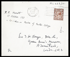 1 envelope to JGF with note by JGF: R.R. Marett, 17 Oct 1928 on his election as Rector of Exeter College