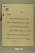 Memo from Robert Lansing to The Secretary of War, May 14, 1918