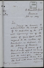 Copy of Letter from Lewis Joel to Governor of Barbados re: Distressed Natives of Barbados on Isthmus of Panama, February 16, 1889