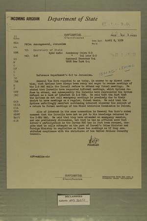 Airgram from AmConGeneral, Jerusalem to Secretary of State, April 8, 1959