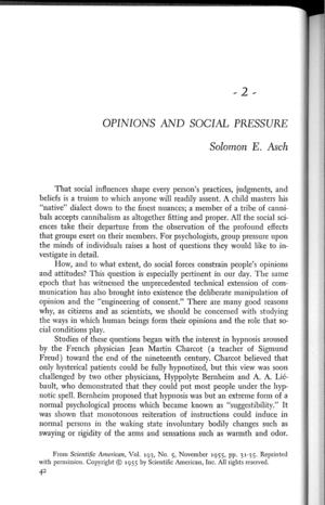 opinions and social pressure