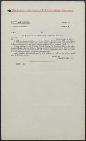 Letter from Sir Francis Bertie to Sir Edward Grey, October 6, 1912