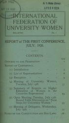 Report of the First Conference, July, 1920