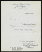 Form Letter from the American Philosophical Society to Ruth Benedict, November 19, 1946
