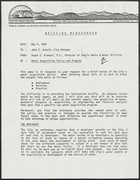 Briefing Memorandum from Roger E. Krempel to John E. Arnold re: Water Acquisition Policy and Program, May 4, 1982