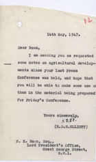 Letter and Notes from H.D.E. Elliott to P.H. Boon (Lord President's Office), May 14, 1947