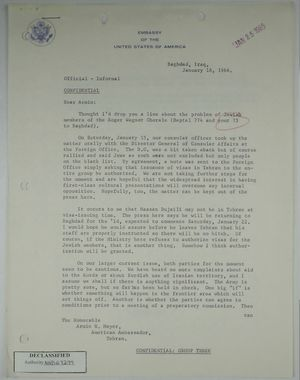 Letter from Robert C. Strong (U.S. Ambassador to Iraq) to Armin H. Meyer, re: Visas for Jewish members of Roger Wagner Chorale visiting Tehran and Iran-Iraq relations, January 18, 1966