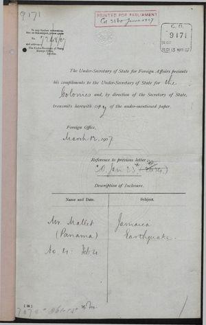 Correspondence re: Jamaica Earthquake, January 22-March 12, 1907