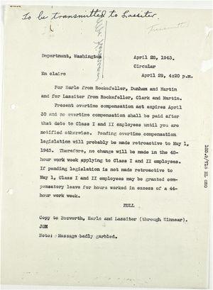 Circular from Rockefeller, Dunham and Martin for Earle and from Rockefeller, Clark and Martin for Lassiter re: Overtime Compensation, April 28, 1943