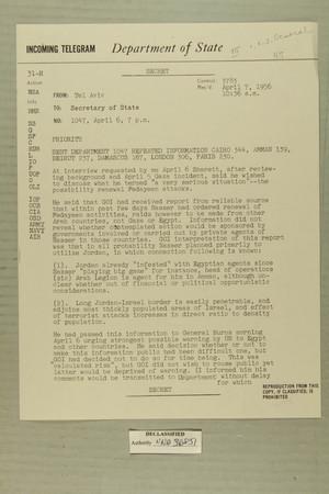 Telegram from Edward B. Lawson in Tel Aviv to Secretary of State, April 7, 1956