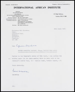 Letter from Basil Wheeler, Secretary, IAI, to MG, 28 Mar. 1973