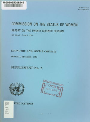 Commission on the Status of Women. Report on the 27th session (20 March - 5 April 1978)