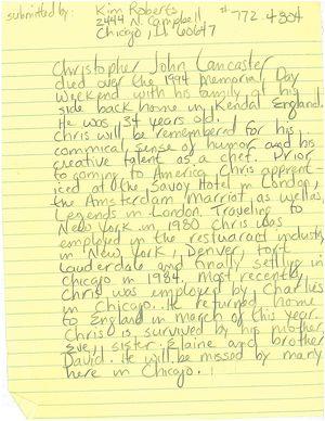 Obituary of Christopher John Lancaster | Alexander Street, a