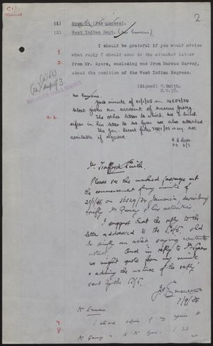 Colonial Office Minutes re: Marcus Garvey, September 1938