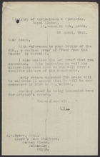 Letter from A.B. Worn to A.H. Hoare re: Revised Proof of 'Food from the Garden,' April 28, 1942