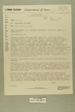 Telegram from Edward B. Lawson in Tel Aviv to Secretary of State, April 9, 1956